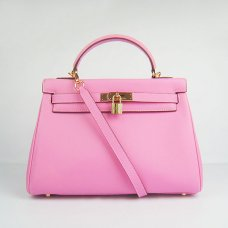 Hermes Handbags Kelly 32 CM Pink Smooth Premium Leather Gold Hardware Bag (with white stitching)