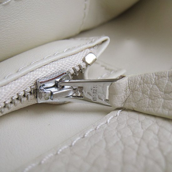 Hermes Handbags Picotin Herpicot Beige Cowskin Leather Silver Hardware Bag - Click Image to Close