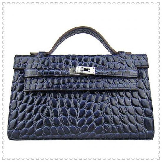 Hermes Handbags Kelly 22CM Navy Fish Stripe Leather Silver Hardware Bag - Click Image to Close