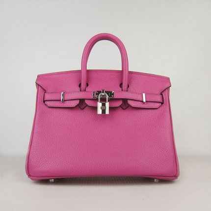 Hermes Handbags Birkin 25 CM Lichee Pattern Bag Peach