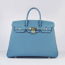 Hermes Handbags Birkin 35 CM Medium Blue Cow Neck Leather Bag