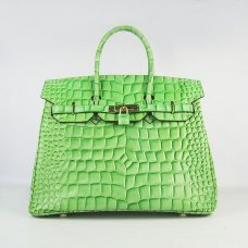 Hermes Handbags Birkin 35 CM Light Green Crocodile Stripe Bag