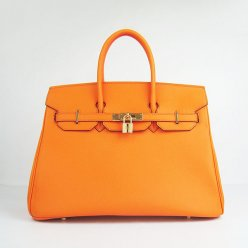 Hermes Handbags Birkin 35 CM Orange Plain Veins Bag