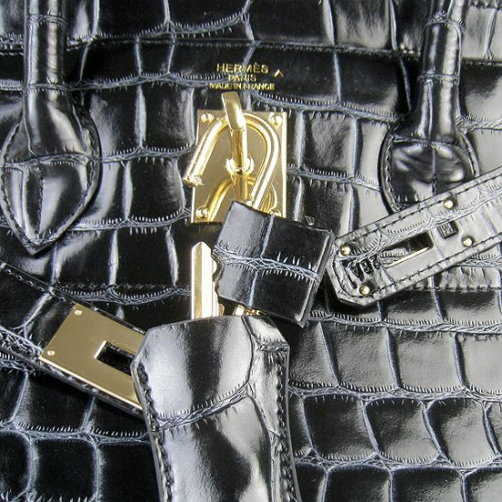 Hermes Handbags Birkin 42 CM Black Togo Crocodile Leather Gold Hardware Bag - Click Image to Close