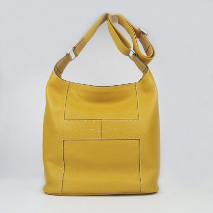 Hermes Handbags Picotin H2801 Yellow Cowskin Leather Silver Hardware Bag
