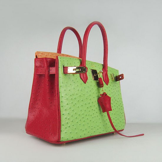 Hermes Handbags Birkin 30 CM Red Orange Green Ostrich Stripe Bag - Click Image to Close