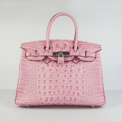 Hermes Handbags Birkin 30 CM Pink Crocodile Scalp Bag