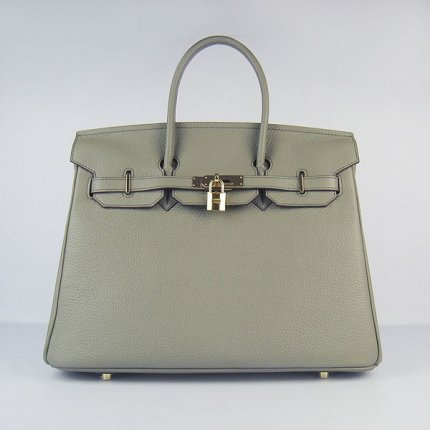 Hermes Handbags Birkin 35 CM Dark Gray Cow Neck Leather Bag