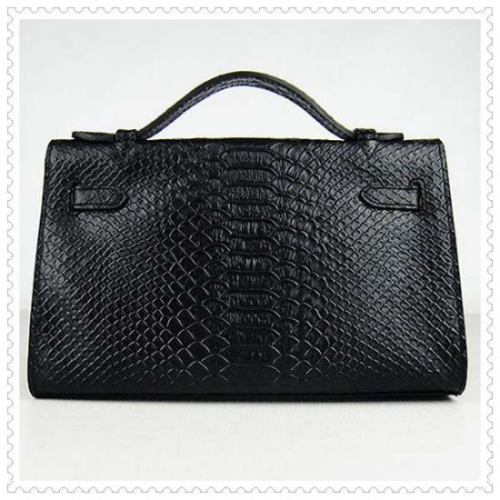 Hermes Handbags Kelly 22CM Black Faux Crocodile Leather Silver Hardware Bag - Click Image to Close