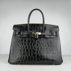 Hermes Handbags Birkin 35 CM Black Crocodile Stripe Bag