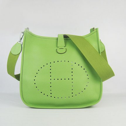 Hermes Handbags Evelyne III Green Cowskin Leather Silver Hardware Bag