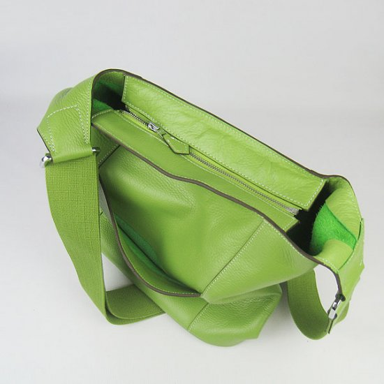 Hermes Handbags Picotin H2801 Green Cowskin Leather Silver Hardware Bag - Click Image to Close
