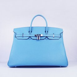 Hermes Handbags Birkin 40CM H6099 Light Blue Cowhide Leather Silver Hardware Bag