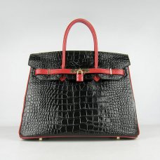 Hermes Handbags Birkin 35 CM Black Red Crocodile Bag
