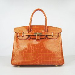 Hermes Handbags Birkin 30 CM Orange New Crocodile Veins Bag
