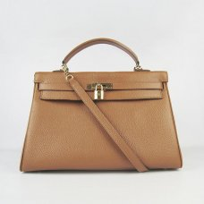 Hermes Handbags Kelly 35 CM Brown Cowskin Leather Gold Hardware Bag
