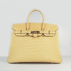 Hermes Handbags Birkin 35 CM Yellow Crocodile Bag
