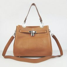 Hermes Handbags Picotin Herpicot Brown Cowskin Leather Silver Hardware Bag