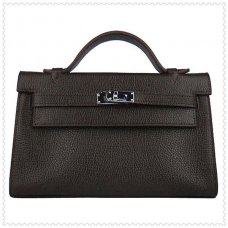 Hermes Handbags Kelly 22CM Chocolate Lichee Stripe Leather Silver Hardware Bag