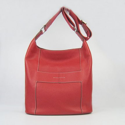 Hermes Handbags Picotin H2801 Red Cowskin Leather Silver Hardware Bag