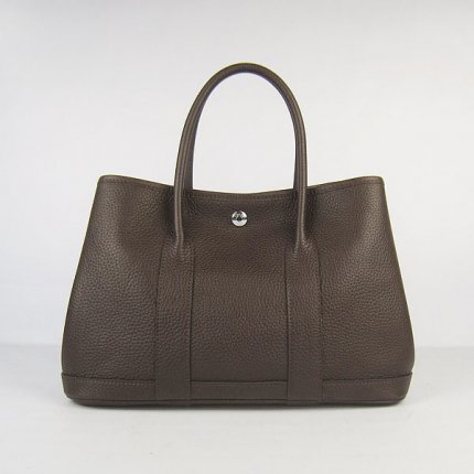Hermes Handbags Garden Party Dark Brown Cowskin Leather Silver Hardware Bag