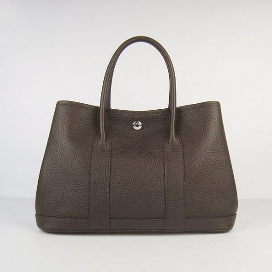 Hermes Handbags Garden Party Dark Brown Cowskin Leather Silver Hardware Bag - Click Image to Close
