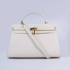 Hermes Handbags Kelly 35 CM Beige Cowskin Leather Gold Hardware Bag