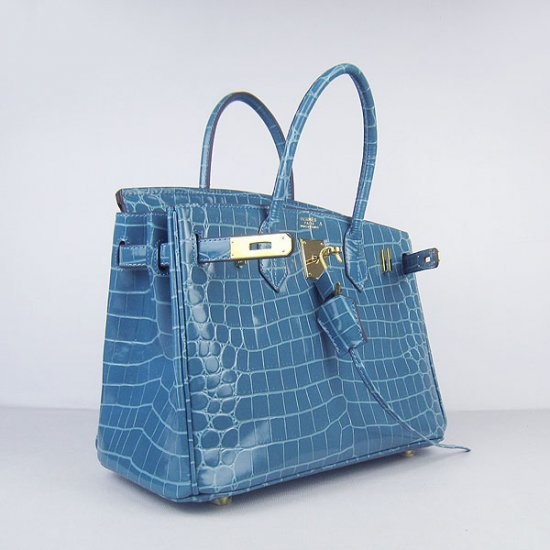 Hermes Handbags Birkin 30 CM Medium Blue New Crocodile Veins Bag - Click Image to Close