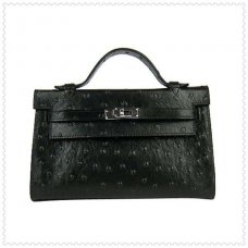 Hermes Handbags Kelly 22CM Black Ostrich Stripe Leather Silver Hardware Bag