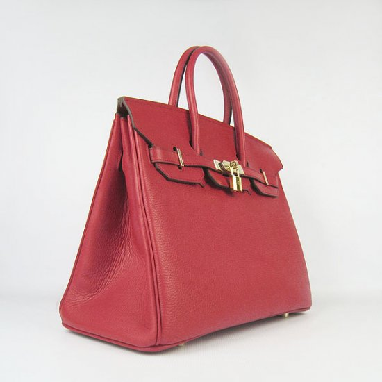 Hermes Handbags Birkin 35 CM Red Cow Neck Leather Bag - Click Image to Close