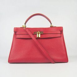 Hermes Handbags Kelly 35 CM Red Cowskin Leather Gold Hardware Bag
