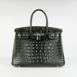 Hermes Handbags Birkin 30 CM Black Crocodile Scalp Bag