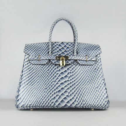 Hermes Handbags Birkin 35CM H6089 Light Blue Fish Stripe Leather Gold Hardware Bag
