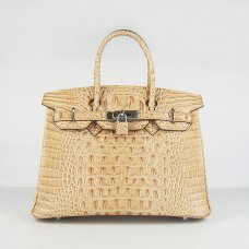 Hermes Handbags Birkin 30 CM Khaki Crocodile Scalp Bag