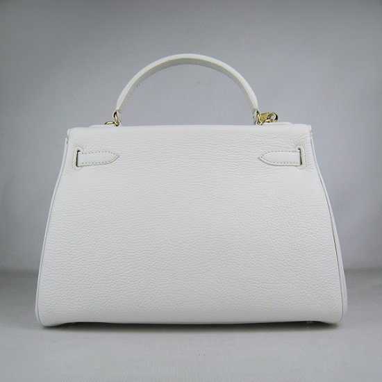 Hermes Handbags Kelly 32 CM White Lichee Pattern Leather Gold Hardware Bag - Click Image to Close