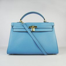 Hermes Handbags Kelly 35 CM Light Blue Cowskin Leather Gold Hardware Bag