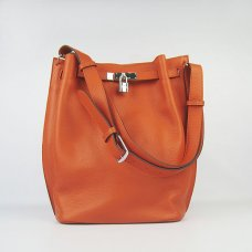 Hermes Handbags Picotin Herpicot 24cm Orange Cowskin Leather Silver Hardware Bag