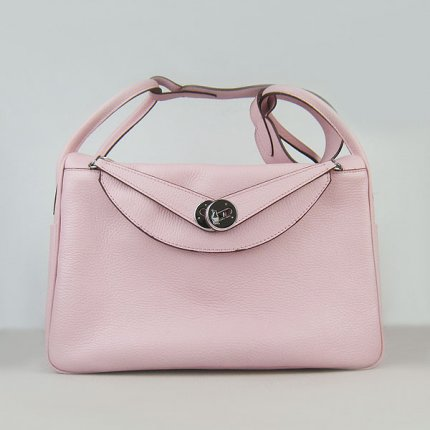 Hermes Handbags Lindy Pink Cowskin Leather Silver Hardware Bag