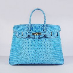Hermes Handbags Birkin 35 CM Light Blue Crocodile Scalp Bag