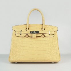 Hermes Handbags Birkin 30 CM Beige Crocodile Bag
