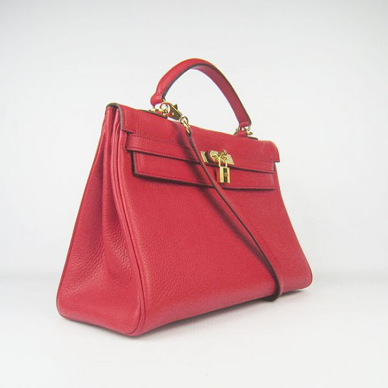 Hermes Handbags Kelly 35 CM Red Cowskin Leather Gold Hardware Bag - Click Image to Close