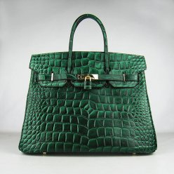 Hermes Handbags Birkin 35 CM Dark Green Crocodile Stripe Bag