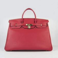 Hermes Handbags Birkin 40CM H6099 Red Cowhide Leather Gold Hardware Bag
