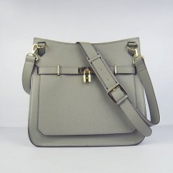 Hermes Handbags Jypsiere Dark Grey Cowskin Leather Gold Hardware Bag