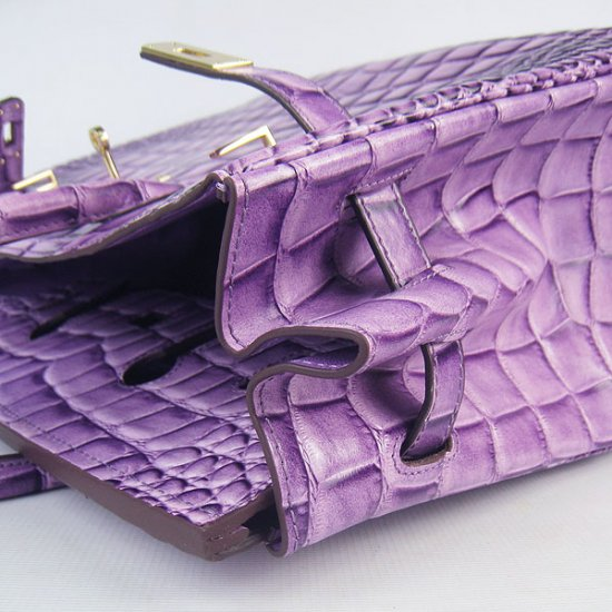 Hermes Handbags Birkin 35 CM Purple Crocodile Stripe Bag - Click Image to Close