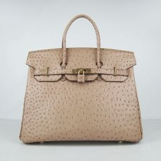 Hermes Handbags Birkin 35 CM Light Khaki Ostrich Stripe Bag