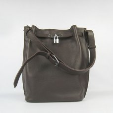 Hermes Handbags Picotin Herpicot 24cm Dark Brown Cowskin Leather Silver Hardware Bag