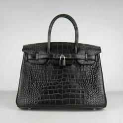 Hermes Handbags Birkin 30 CM Black Crocodile Bag