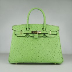 Hermes Handbags Birkin 30 CM Green Ostrich Stripe Bag