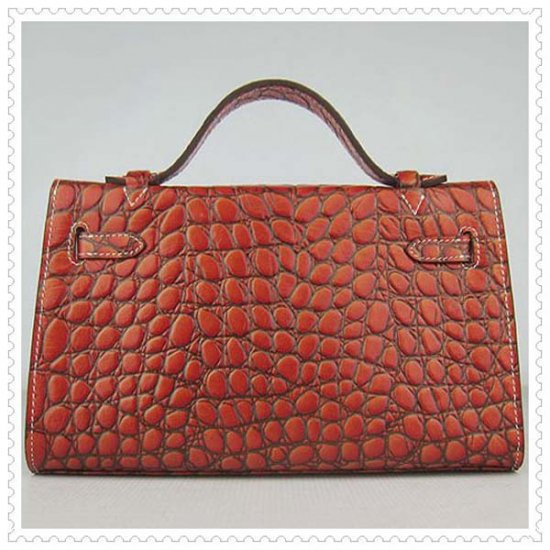 Hermes Handbags Kelly 22CM Orange Fish Stripe Leather Silver Hardware Bag - Click Image to Close